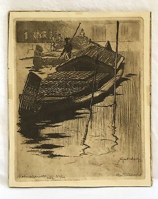 Antique Vintage Asian Junk River Fishing Work Boats Engraving Pencil Signed