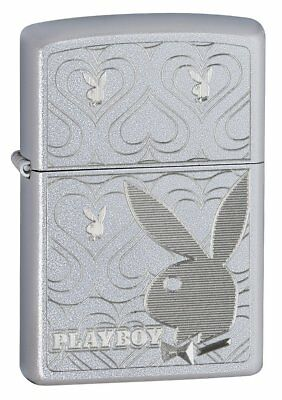 Zippo Playboy Bunny Hearts Satin Chrome Lighter 28077