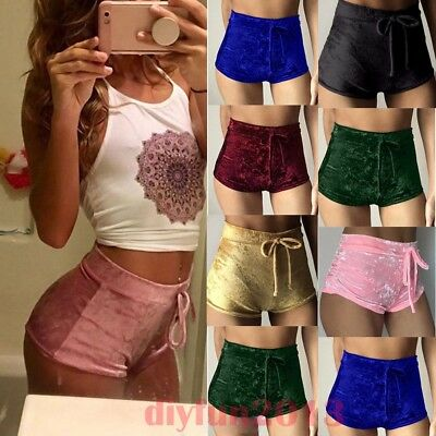 Women Soft Velvet Drawstring Elastic Shorts Casual High Waist Skinny Short Pants
