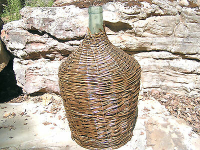 LARGE Wicker wrapped Italian Wine Bottle Vintage Demijohn Jug 0747