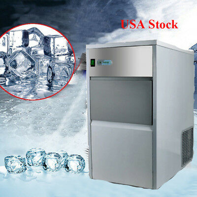 25kg/Day Safty Auto Commercial Ice Maker Cube Machine Stainless Steel Bar 55Lbs