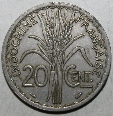 French Indochina 20 Centimes Coin 1939 - KM# 23a.1 - Vietnam Cambodia Laos Ten