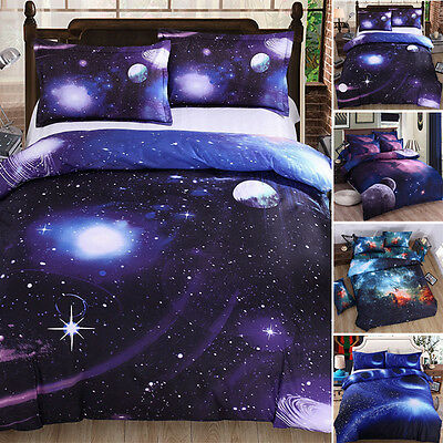 3D Bedding Galaxy Sky Bed Set Outer Space Single Queen Duvet Cover Winter Warm