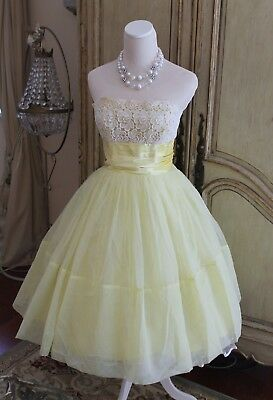Original Vintage 50s Prom Party Ball Dress | Swing | Pinup | Rockabilly | Yellow
