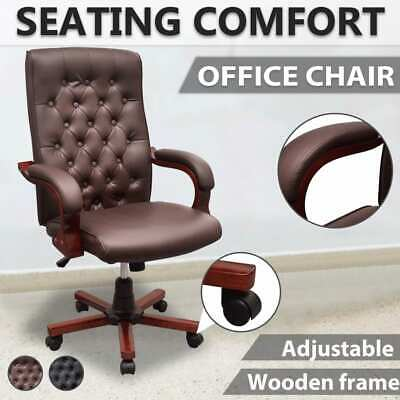 vidaXL Office Chair Artificial Leather Computer Chesterfield Swivel Seat Brown/B