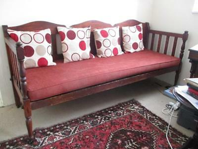 ANTIQUE 1930's SEAT SOFA SPRUNG BASE 'RUSBANK' WOODEN FRAME SOUTH AFRICAN