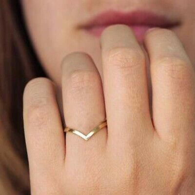 Women's Fashion 18k Gold Plated Ring Stainless Steel Engagement Wedding Chevron