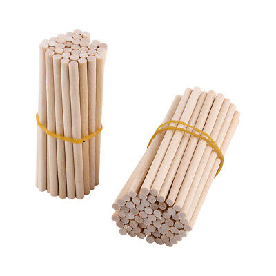 100Pcs 80mm Natural Round Wooden Lollipop Lolly Sticks Cake Dowel Food Craft DIY