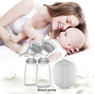 Electric Breast Pump Baby Feeding Tool Double Nipple Suction with Bottle RUE8