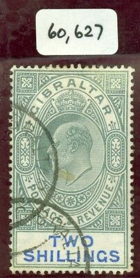 SG 62 Gibraltar 1904-08 2/- green & blue. Fine used, small central stain. BPA...