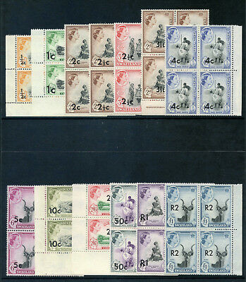 Swaziland 1961 QEII Surcharges set complete in blocks superb MNH. SG 65-77a.