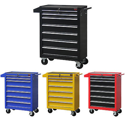 Large 7 Drawers RollCab Garage Professional Tool Chest Box With Us Ball Bearing