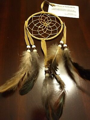 "Authentic Native American Navajo Buckskin Dream Catcher 4 "" Mae Stone # 611B"