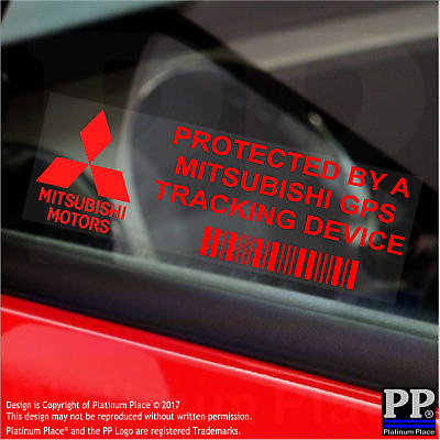 5 x RED- Mitsubishi GPS Tracking Device Security Stickers-Car Alarm Tracker