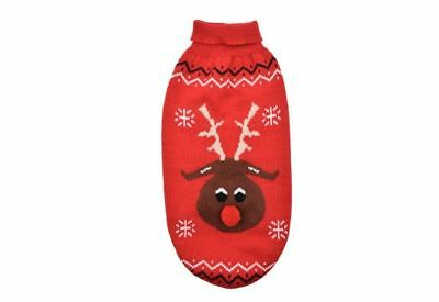Ancol Cute Cosy Xmas Christmas Reindeer Dog Puppy Jumper Sweater Red Xs Xxs