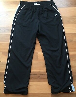 Nike Women's Pants Athletic Running Track Fit Dry Black Blue Stripe Large 12/14