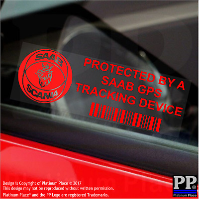5 x RED-SAAB GPS Tracking Device-Stickers-Vehicle,Security,Tracker,Car,Safety