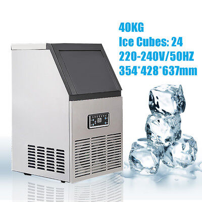40KG/88Lbs Commercial Bar Ice Maker Cube Machine Stainless Steel 200W 220-240V