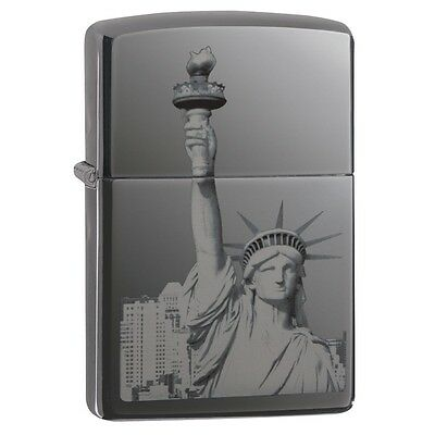 "Zippo ""Statue of Liberty"" Black Ebony Finish Lighter, Full Size, 29437"