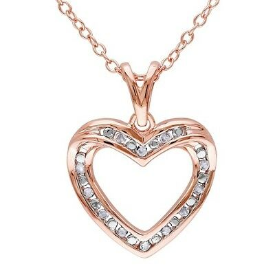 0.10 Cttw Real Diamond Heart Pendant Necklace 14k Rose Gold Over Sterling Silver
