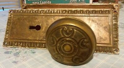 Antique Brass Bronze ornate decorative doorknobs face plates nice steampunk