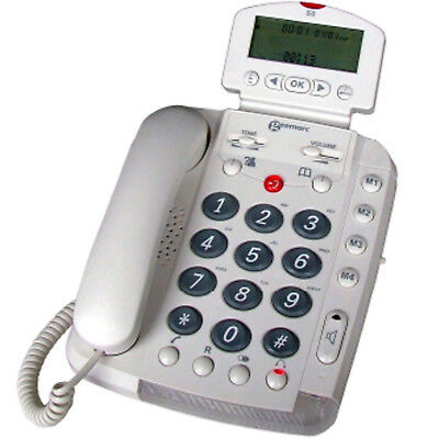 Geemarc Extra Loud Corded Big Button Telephone WHITE