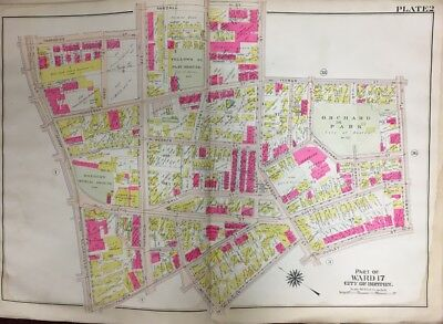 1906 Gw Bromley Boston, Ma, Roxbury Burial Ground, Orchard Park, Plat Atlas Map