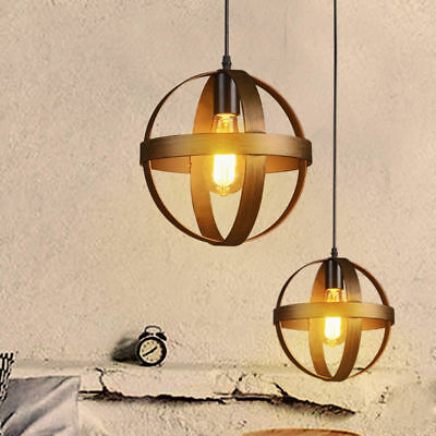 Antique Vintage Style Globe Cage Single Light Pendant Light in Bronze Finish