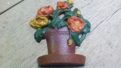 Vintage Cast Iron Doorstop Pot Of Flowers Unknown Maker Marked J.w. 52-580