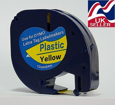 1 x tape cartridge 91202 yellow plastic 12mm x 4m for DYMO LETRATAG label makers