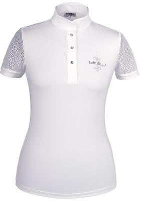 Fairplay women's tournament shirt Cecile White with lace and rhinestones