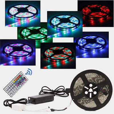 5M 300 LED 5050 SMD RGB Strip Light Flexible Dimmable Waterproof + 44Key Remote