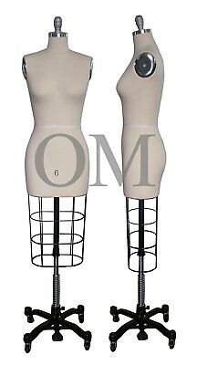 Professional Female Mannequin Dress Form, W/ Heavy Rolling Base, Size 6 (ncs 6)