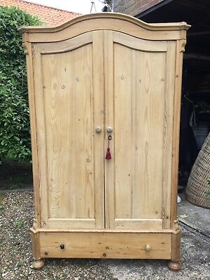 antique. solid pine wardrobe Wax Finish Ideal Size For Cottage