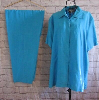 Women's Pant Suit Size XL Turquoise 100% Silk Bechamel Top and Pants