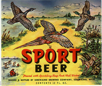 Vintage Bottle Label Sport Beer Pheasant Duck Deer Fishing Hunting Michigan 1950