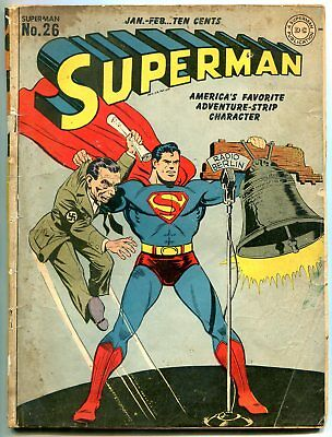 Superman #26 1944- Radio Berlin Joseph Goebbels Nazi cover restored G/VG
