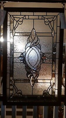 Glass Window - Stained Leaded Wood Frame Clear Glass w/ Twirl Beveled Design