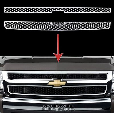 07-13 Silverado 1500 LS LT WT CHROME Snap On Grille Overlay Grill Insert Covers