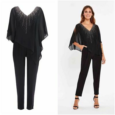 Brand New Ladies Ex Wallis Black Embellished Overlay Jumpsuit V Neck Size 8-20