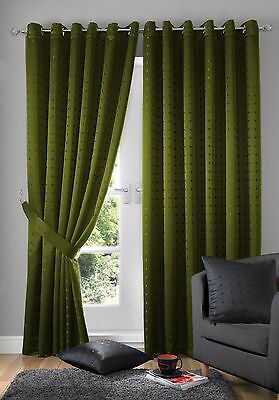 "Jacquard Check Green 90X72"" 229X183 Cm Lined Anneau Top Eyelet Curtains Drapes"