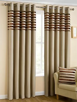 "Kings Cream Brown 46"" X 90"" Striped Lined Anneau Top Curtains #nylkoorb Bel"