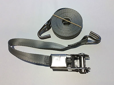316 Stainless Ratchet Strap Grey 25mm Hook Boat Sail Dinghy Rib Jet Ski Trailer