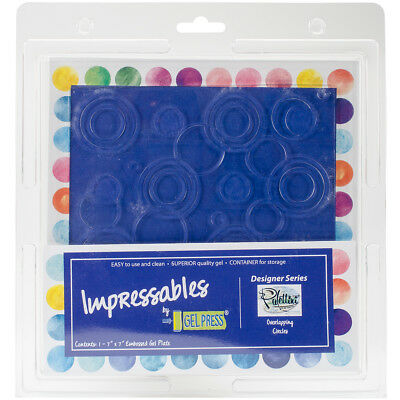 """Gel Press Impressables 7""""x7"""" Embossed Gel Plate By Palettini-Overlapping Circles"""