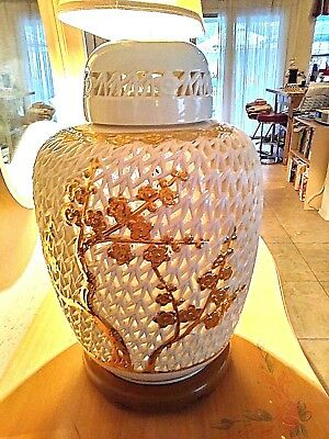 "Large Original Chinese  Reticulated Blanc de Chine  Ginger Jar  Lamp 18"" Tall"