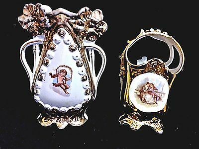 Antique German 2 Porcelain Portrait Vase , One Garden Scene ,one Cherub