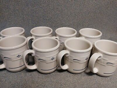 Longaberger Pottery Woven Traditions Classic Blue Coffee Mugs Cups set of 8