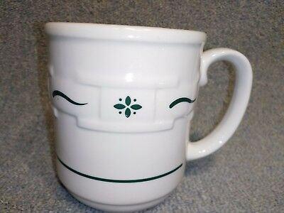 Longaberger Pottery Coffee Mug Cup Heritage Green Woven Traditions