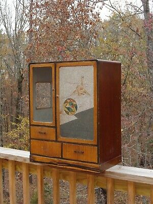 "VINTAGE Art Deco Style Display Cabinet Drawers Glass 23"" x 18.5"" x 10.5"""
