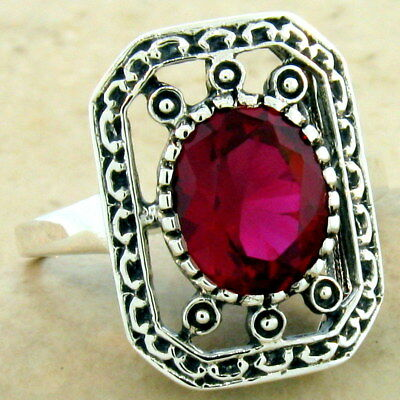 Victorian Antique Style 925 Sterling Silver 3 Ct Red Lab Ruby Ring Size 9, #1101